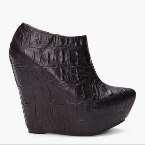 Jeffrey Campbell Zoe Black Croc Embossed Leather Platform Ankle Boots Size 9